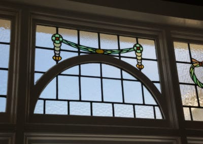 Close-up - leadlight restoed and sealed inside double glazing before being retro-fitted into the existing timber sash